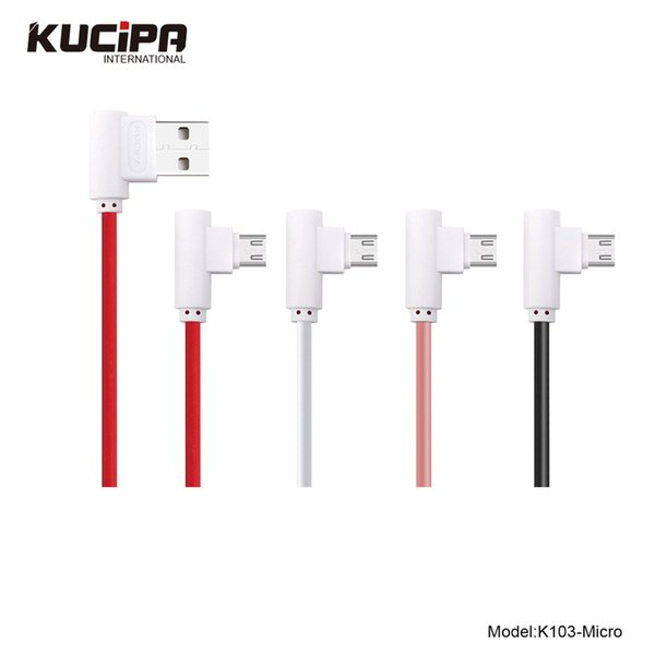 1M Fast Charging Micro USB Cable 90 Degree Data Cable L Shape Type Fast Charging Game Cable 4 Colors in Retail Packing