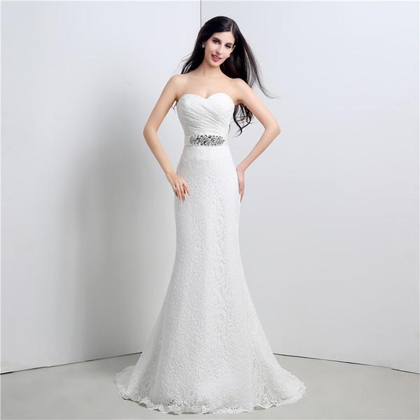 Toptan sweeteart geri lace up Exposed Boning süpürme tren CYH000023120 ile basit elbise Mermaid Gelinlik