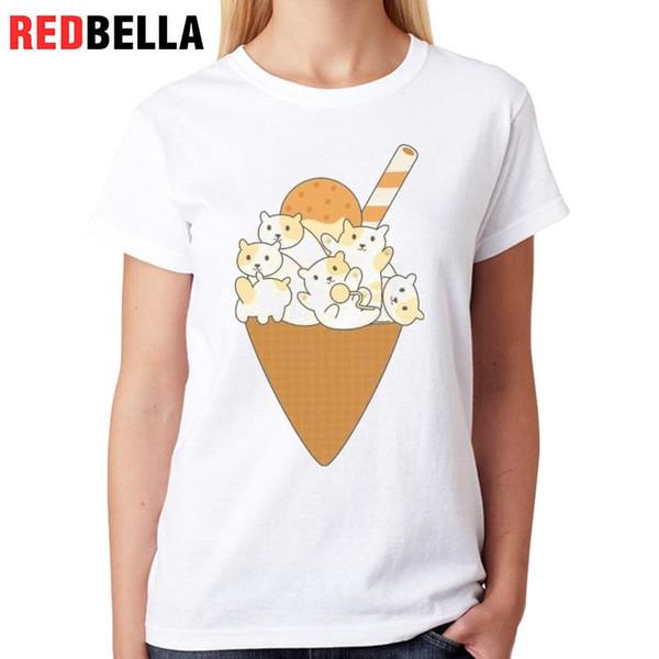 Women's Tee Redbella Korean Cute T Shirt Femme Kittens Funny Cartoon Ice Cream Cats Ulzzang Harajuku Clothes 100% Cotton Fashion Printing