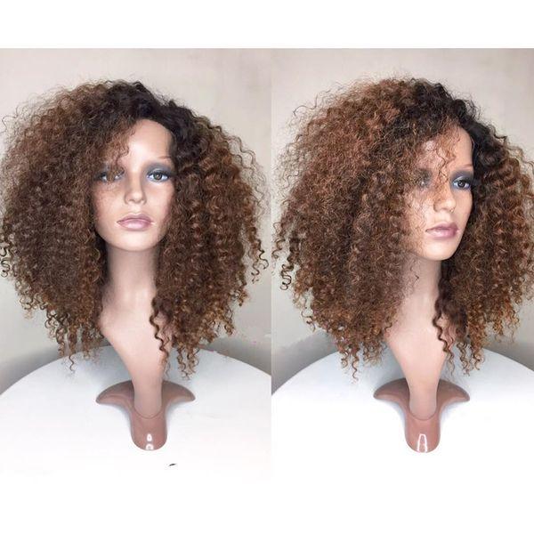 Glueless Ombre Peruca Dianteira Do Laço Brasileiro Virgem Do Cabelo Humano # 1BT30 Moda kinky curly Cheia Do Laço Perucas de Cabelo Humano com o Cabelo Do Bebê