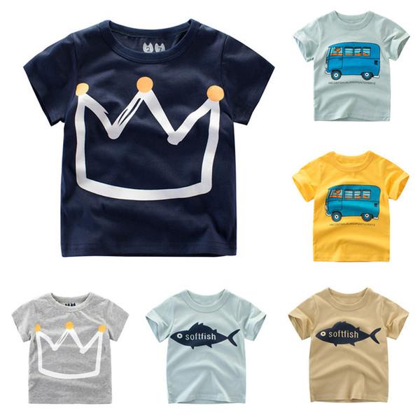 Chicos Tops Verano 2018 Marca Niños Camisetas Niños Ropa Niños Camiseta Fille 100% Algodón Estampado de caracteres Bebé Ropa