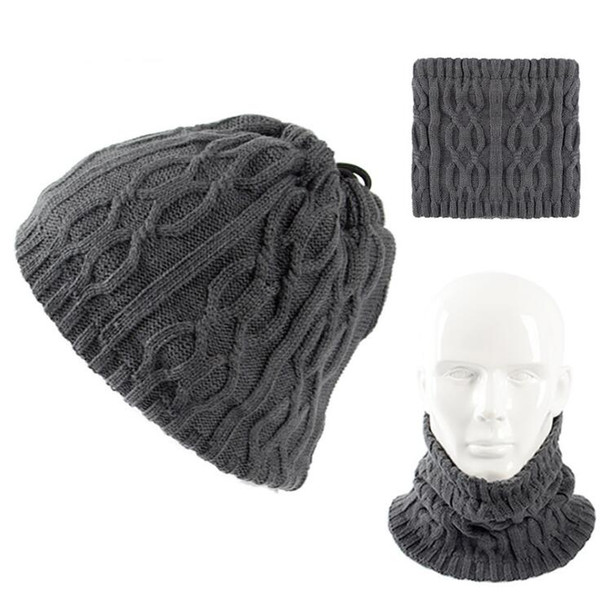 New Design Winter Hat Women Men Unisex Fashion Hat Scarf 2 in 1 Knitted  Ring Scarves Solid Color Skullies Beanie Caps 9288e8ebffb6