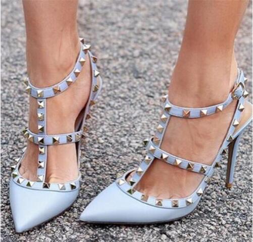 Marke Frauen Pumps Hochzeit Schuhe Frau High Heels Nude Fashion Knöchelriemen Nieten Schuhe Sexy High Heels Brautschuhe T-Strap Stiletto Heels