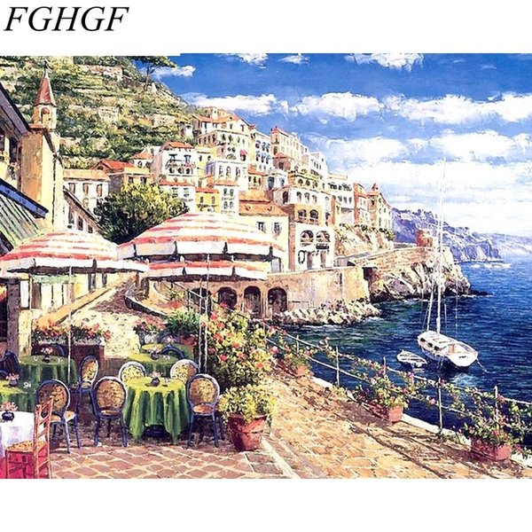 FGHGF Seascape DIY Painting By Numbers Acrylic Paint On Canvas Hand Painted Oil Paint Wall Art For Home Decoration 40*50cm