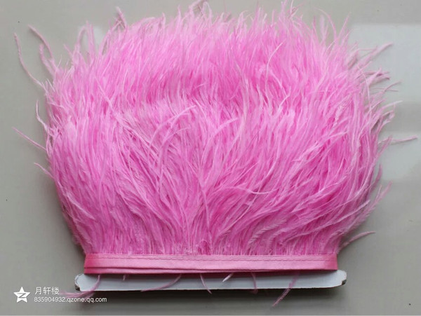 Wholesale 10yards/lot light pink 5-6 inch in width ostrich feather trimming fringe for dress sewing crafts skrit supply