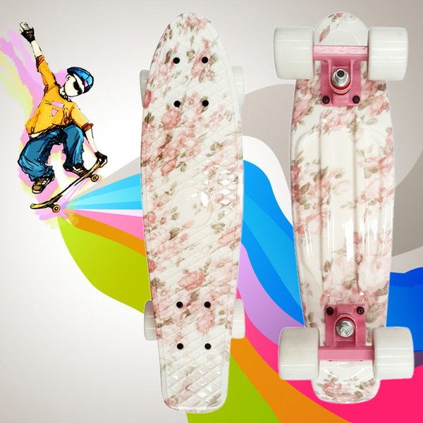 Motivo floreale Retro Skateboard completo da 22 pollici Skate Board Outdoor Sport Longboard 100kg Load Mini Cruiser PP Board + Ruota PU