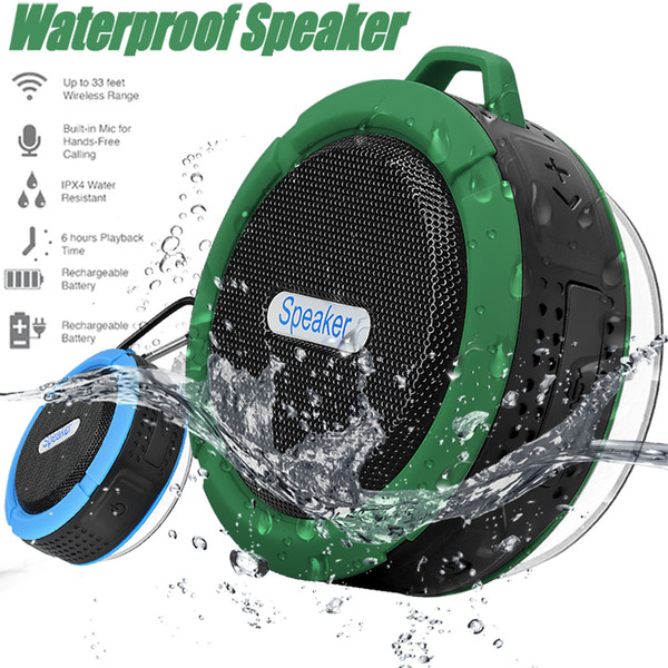 top popular Bluetooth Speakers C6 Waterproof Shower Speaker Outdoor Speakers With 5W Strong Driver Long Battery Life Removable Suction Cup With Package 2019
