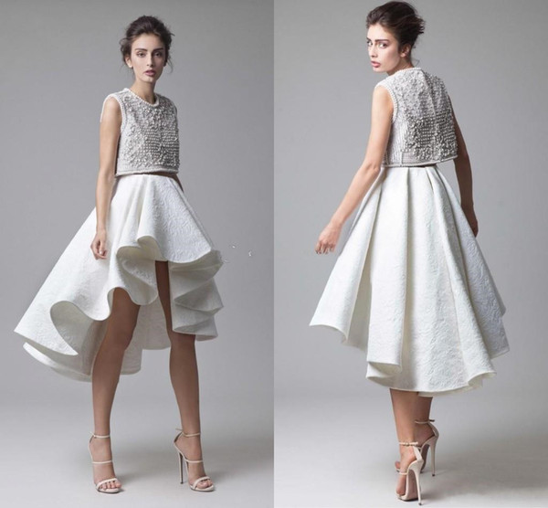 Fashion Krikor Jabotian Lace Prom Dresses Beading Bodice Ruched Asymmetrical Skirt Two Piece White Evening Party Dresses High Low Prom Gown