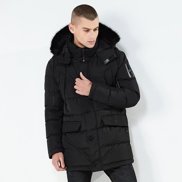 2018 Men Winter Jacket Brand Detachable Fur Collar Male Coats Warm Casual Long Parka Coat Mens Thick Outwear Clothing BF8825