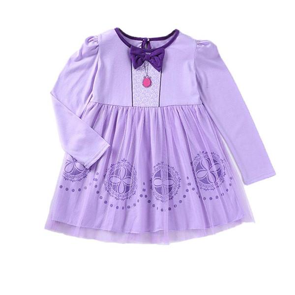Compre Venta Al Por Menor 2018 Princesa De La Princesa Vestido Sofía Púrpura De Dibujos Animados Rendimiento De Halloween Vestido De Manga Larga Ropa