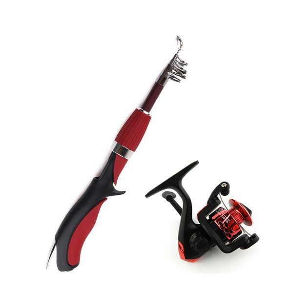 HENG JIA Portable Fishing Angling Rod with Tackle Box Pesca Mini Short Fishing Pole Light Weight Lure Spincast Beginner