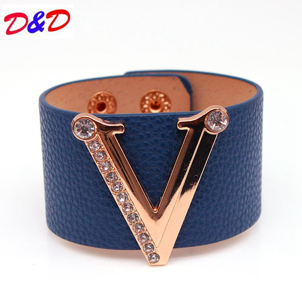 2017 Hand Jewelry Charm Leather Bracelets & Bangles Simple All-Match MS OL V Word Wide Leather Bracelet D1588