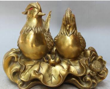 "11"" Chinese Bronze Fengshui Folk Animal Lotus Flower Mandarin Duck Lovers Statue"