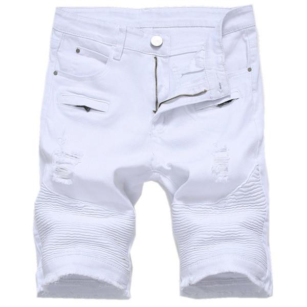 Sommermens Jeans-Shorts dünne beiläufige Knielänge Kurz Loch-Jeans Shorts für Männer Gerade Bermuda Masculina Weiß Schwarz Rot