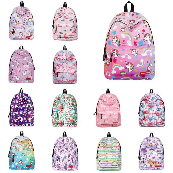 Unicorn Flamingo Backpacks 17 Designs Unicorn Flamingo Printed Bigs Kids Students Polyester School Backpack Flamingo Unicorn Bags LA860