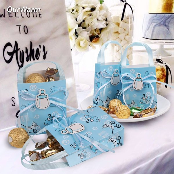 OurWarm 12pcs Babyshower Boy Girl Chocolate Box Cookie Bag Cake Packaging Paper bags with Handles Candy Bar Decoration