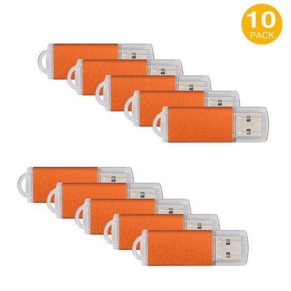 Orange 10PCS Rectangle USB 2.0 Flash Drives Enough Pen Drive Thumb Memory Stick Storage 64M 128M 256M 512M 1G 2G 4G 8G 16G 32G for PC Laptop