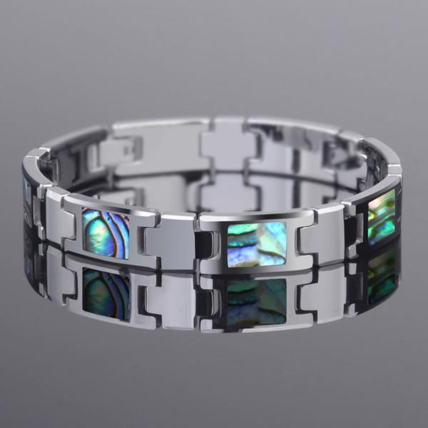 La mode des hommes de carbure de tungstène bracelets longueur de 20 cm avec coloré Deep Sea Shell coquilles de l'homme Fasion bijoux livraison gratuite