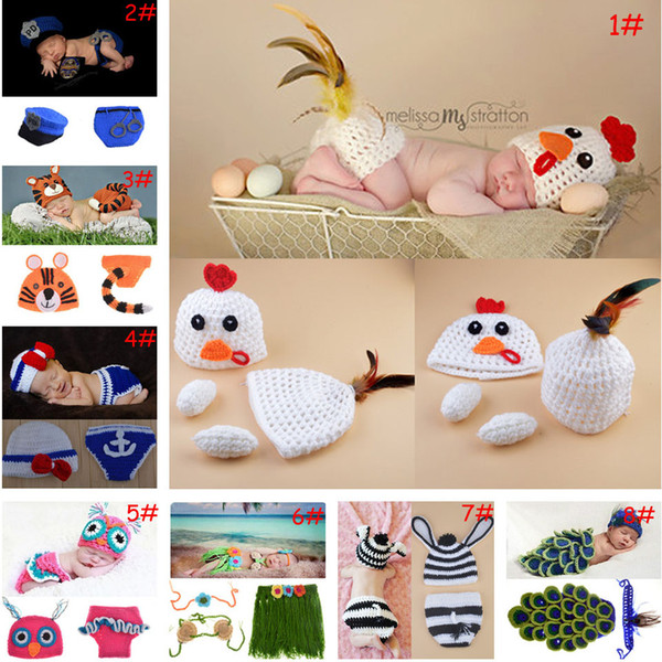 Lovely Crochet Animal Design Baby Photography Props Crochet Newborn Baby Hat Pants Set Knitted Infant Baby Animal Costume