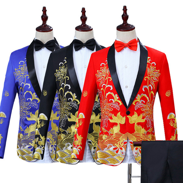 Chinese Style 5 Colors Gold Embroidery Pattern Wedding Suit Jacket Pants Nightclub Party Prom Men Suit Blazers Costumes M-3XL
