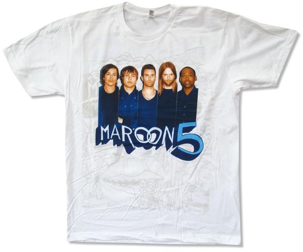 Maroon 5 Mavi Gömlek Fotoğraf N. Tur Tur 2013 Beyaz T-Shirt Yeni Yetişkin Resmi Band T Gömlek Erkekler Için Çılgın Kısa Kollu Crewneck Pamuk Artı Boyutu