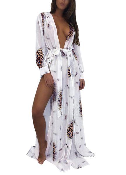 2018 Summer Sexy Women Chiffon Kimono Bikini Cover Up Leopard Contrast Color Split Cardigan Beach Maxi Blouses Coverups female