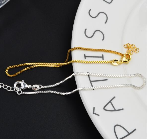 2018 hot sales plating Gold silvery 925 silver 2mm Box chain Bracelet Foot chain Foot ornament 21.5cm+3cm girl woman Fashion ornaments