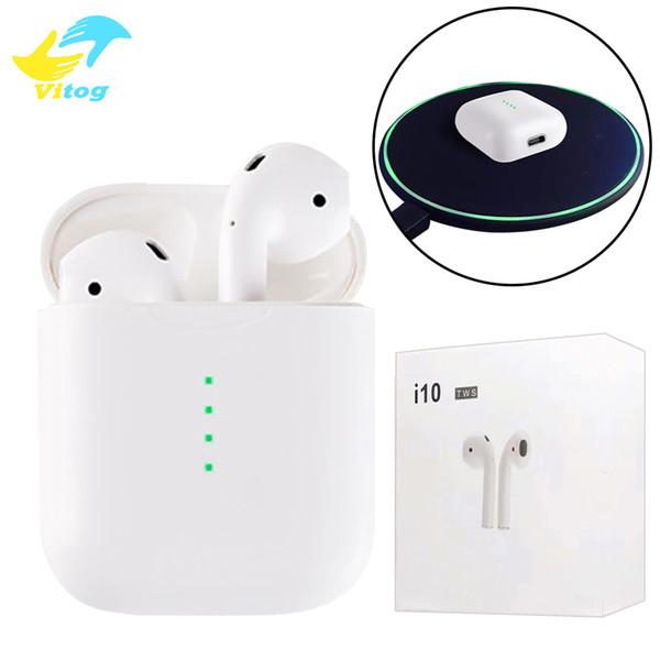 i10 sem fio bluetooth 5.0 fones de ouvido ture estéreo fones de ouvido fones de ouvido sem fio fones de ouvido suporte carregador sem fio com caixa de carregador para telefones