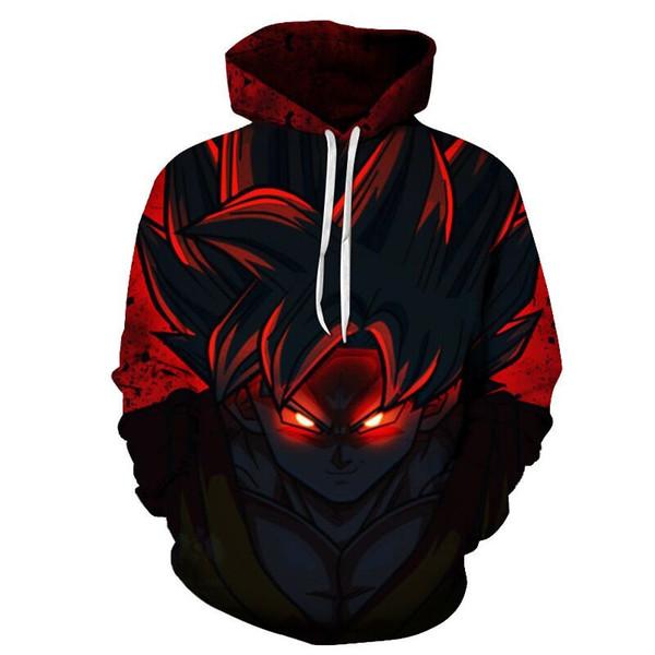 Dragon Ball Z Hoodies Sweatshirt 2018 Limit Breaker Kaio Ken Goku DBZ 3D Plus Size Clothing Casual Hip Hop Hooded