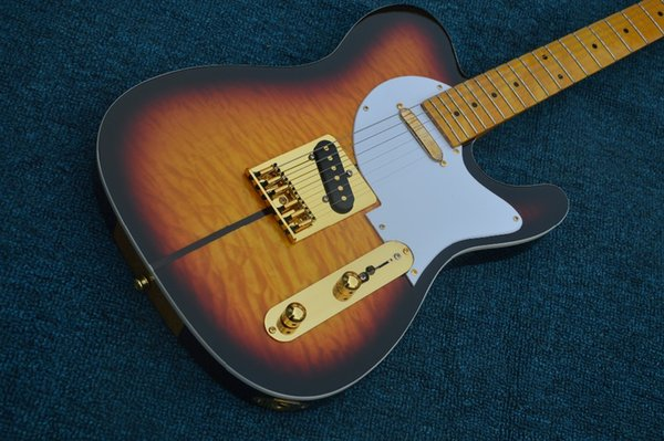 Custom Shop Merle Haggard Tuff Dog Tele TL Tobacco Sunburst Quilted Maple Top Electric Guitar Maple Neck & Fingerboard, Gold Hardware