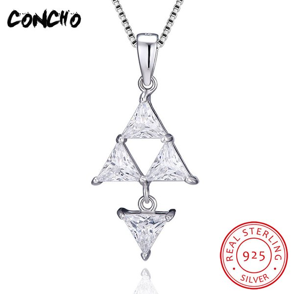 2018 Concho Jewelry 925 Sterling Silver Triangle Zircon Necklace For Women Wedding Best Gift Pendant From Frenky 4629