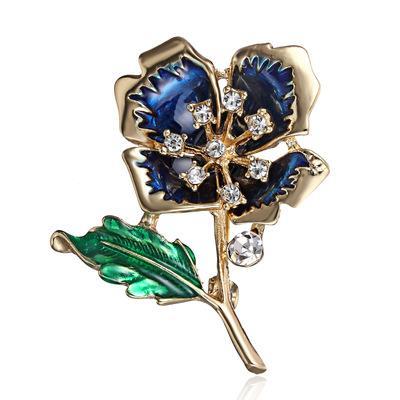 Luxury Rhinestone Crystal Flower Pin Brooch Wedding Costume Broach Scarf For Women Female Flower Bridal Bouquet Pin