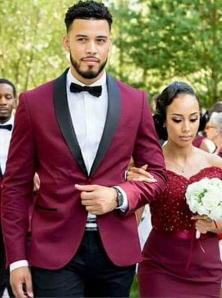 Customized new wine red shawl collar single button men's business casual suit two-piece suit (coat + pants) wedding groom groomsmen dress