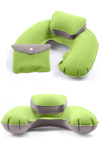New Portable U Shape Air Inflatable Travel Pillow Support Flocking PVC Neck Pillow for Airplane Travel Office Home Sleep