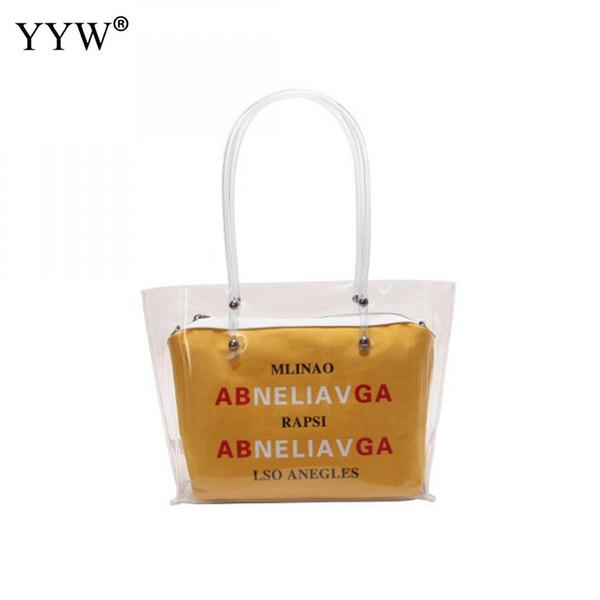 Yellow Plastic Jelly Bag Handbag Transparent Top Handle Hand Bags 2 Pcs Ins Square Letter Shoulder Bags Bolsos Mujer 2018 Design