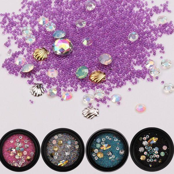 Mixed Glass Jelly Caviar Beads Nail Art Decoration Gradient Mermaid Diamonds Crystals Sea Shell Studs 3D Manicure UV Gel DIY New