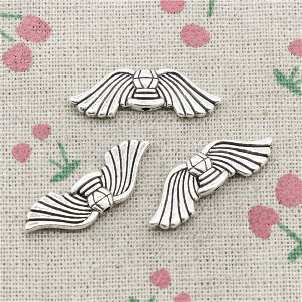 72pcs Charms angel wings bead 10*30mm Tibetan Silver Vintage Pendants For Jewelry Making DIY Bracelet Necklace