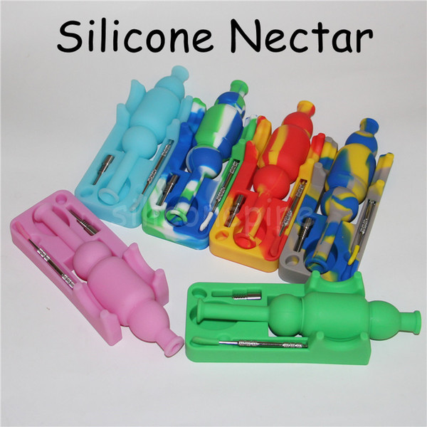 DHL Free Shipping Silicone Nectar Collector set with 10mm joint Ti Nail nector collector oil rigs Micro NC Glass water Pipes
