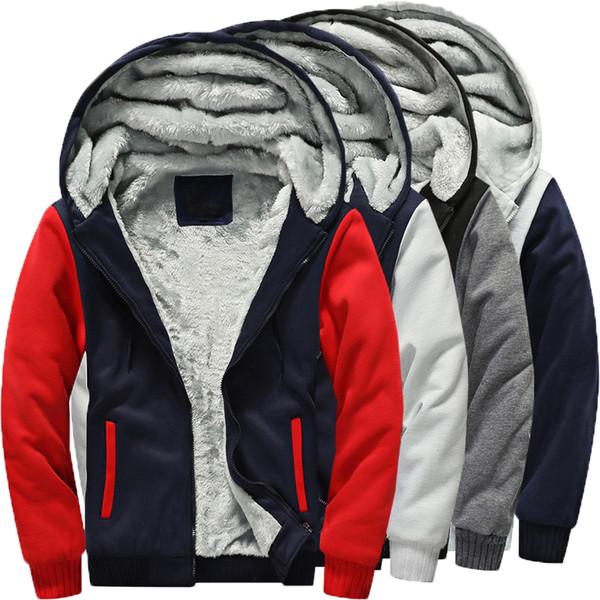 Warm Winter Men Women Hooded Sweatshirts Hoodie Fleece Lined Outwear Zipper Sweatshirt Windproof Casual HipHop Hoody Fashion 5XL