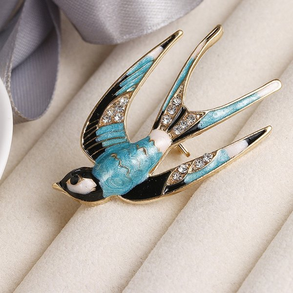 2018 New Arrival Classic Alloy Enamel Swallows Brooch Cute Animal Colorful Pins Scarf Accessories Wedding Party Gift #279459