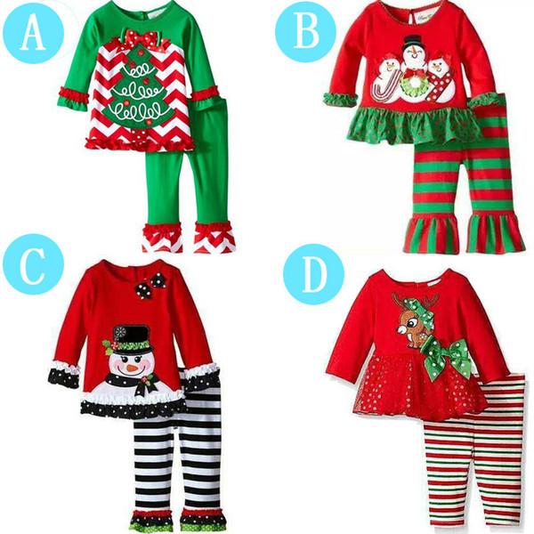 Navidad Bebé Niña Pijamas Papá Noel Reno Árbol de Navidad Impreso Invierno Otoño Ropa de Manga Larga Ropa de Dormir Venta Caliente 27xy hh