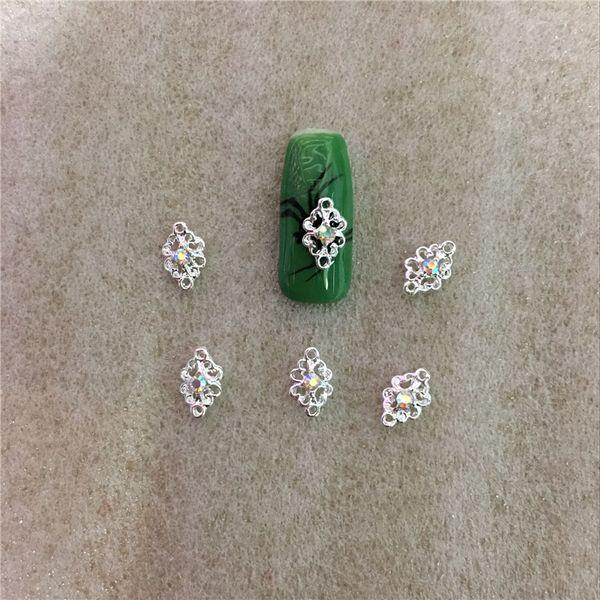 10 pcs/bag Silver AB Gem Rhinestone A Diamond Jewelry 3D Nail Art Decoration Hollow Alloy Rhinestone Art Glitter NO.28