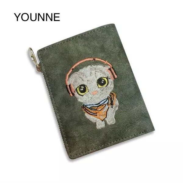 YOUNNE Women Leather Wallet High Quality Printed Purses Fashion Wallet Dog Printing Coin Zipper Purse 2018 Cute Money Clip