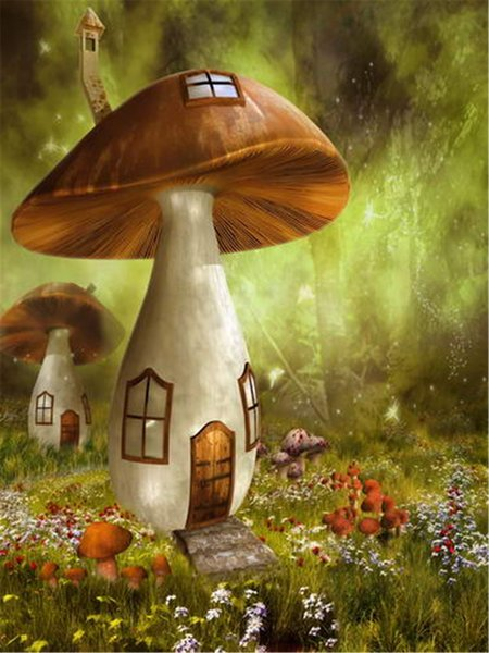 Fantasy Fairy Land Mushroom House Photography Backdrop Printed Forest Flowers Kids Children Birthday Party Photo Booth Backgrounds