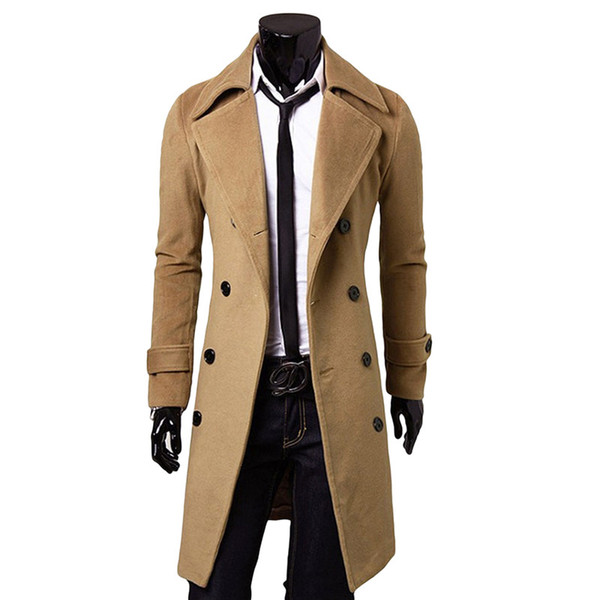 2018 Winter Men Trench Coat Double Breasted Turn-Down Collar Overcoat Oversized Long Jacket For Male Plus Size Warm Cotton Coat