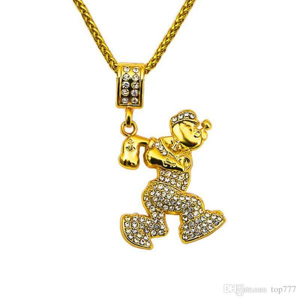 La collana torta della catena del pendente del marinaio del Rhinestone di cristallo di Bling di Hip Hop della catena dell'oro del regalo degli uomini insoliti 2018 libera la catena