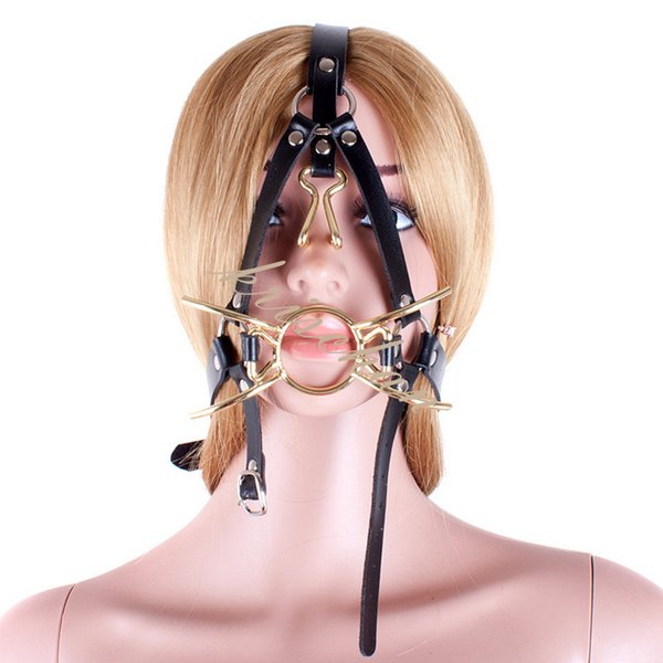 Spider Shape Metal Ring Gag Bondage Restraint with Nose Hook Slave Fetish Mouth Gag S&M tools Black Full Head Harness