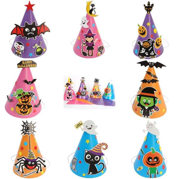 Compre New Boy Girl Criancas Criancas Diy Chapeu Do Dia Das Bruxas Chapeu Feiticeiro Bruxa Estrelas Fantasia Magica Caps Trajes De Halloween