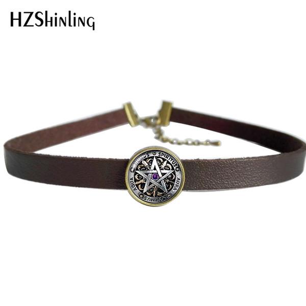 2017 NEUE Okkulte Wicca Leder Halskette Pentagramm Wicca Anhänger Glas Schmuck Leder Halsband Halskette