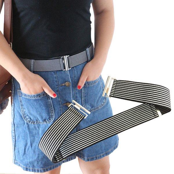4 CM Largura Elástica Cinto Ajustável Tecido 7 Cores Fivela Plana Jeans Calças Saia Cintura Listrada Moda 038-A723